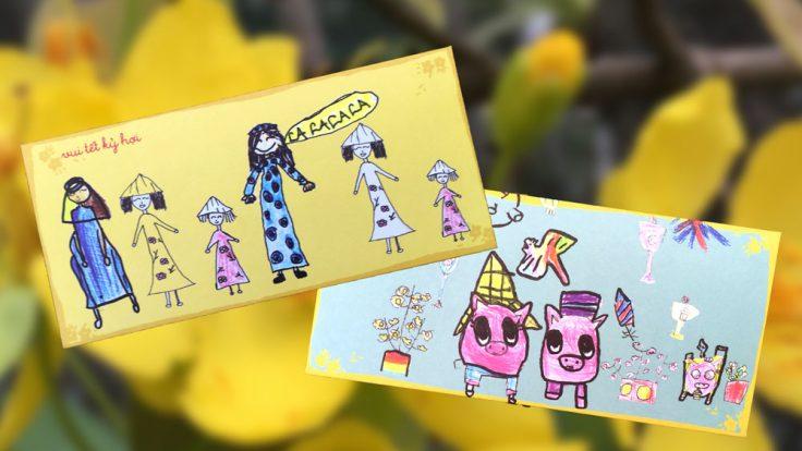 TET Lucky Money umschläge gestaltet von Kindern der IGS HCMC