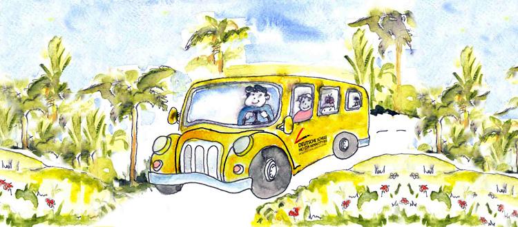 Illustration gelber Schulbus der IGS