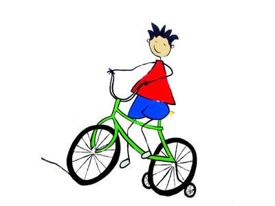 Illustration Schüler auf Fahrrad