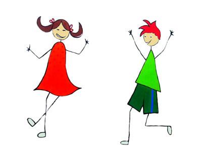Strich-Illustration Mädchen und Junge