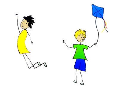 Strich-Illustration zwei Jungen, einer in die Luft springend, der andere mit einem Drachen