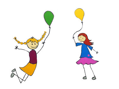 Strich-Illustration zwei Mädchen mit Luftballons